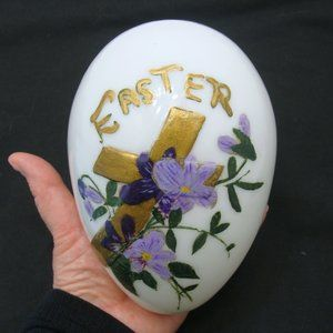 Other - Antique Easter egg large glass hand painted old